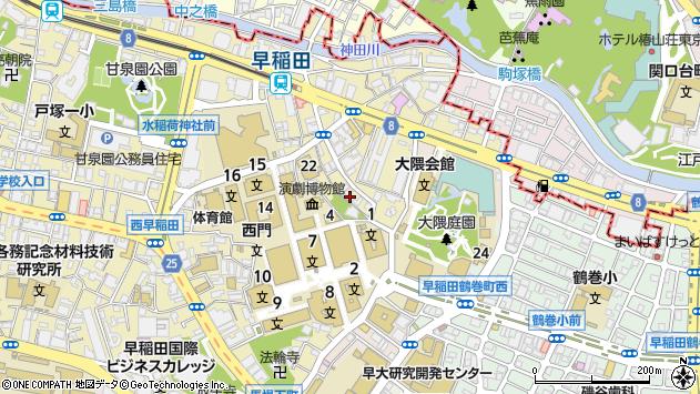 東京都新宿区西早稲田1丁目8-4周辺の地図