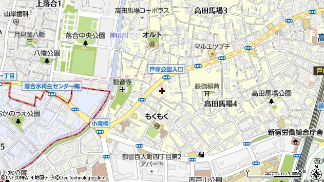 東京都新宿区高田馬場4丁目38-14周辺の地図
