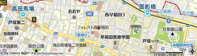 東京都新宿区西早稲田3丁目周辺の地図