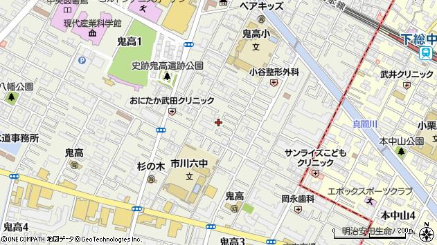 千葉県市川市鬼高周辺の地図