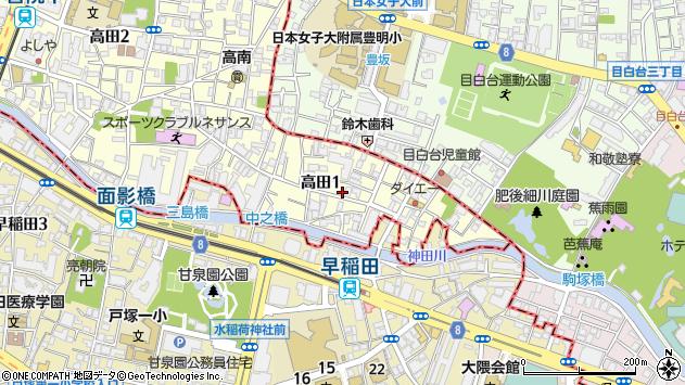 東京都豊島区高田1丁目周辺の地図