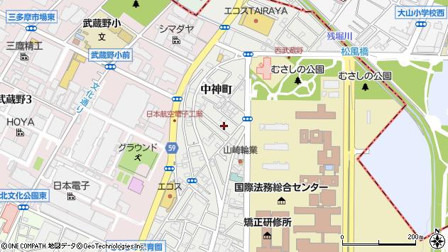 東京都昭島市中神町周辺の地図