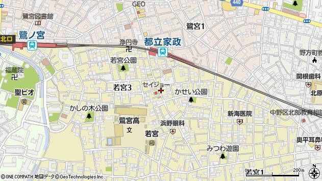 東京都中野区若宮周辺の地図