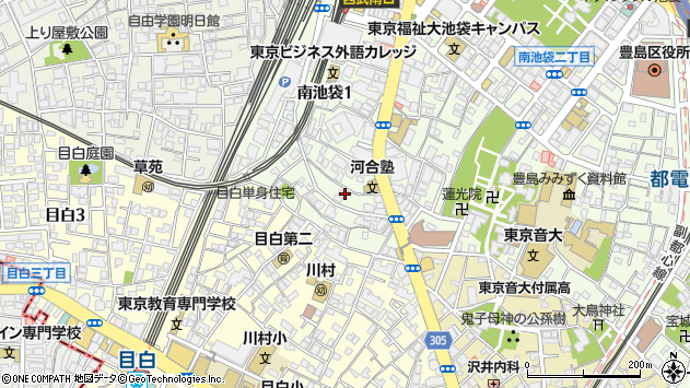 東京都豊島区南池袋1丁目周辺の地図