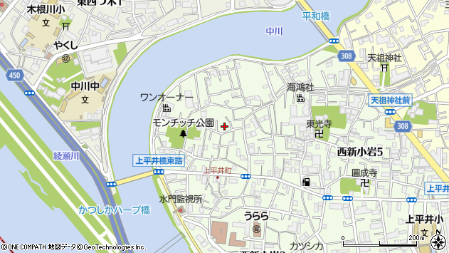 東京都葛飾区西新小岩5丁目周辺の地図