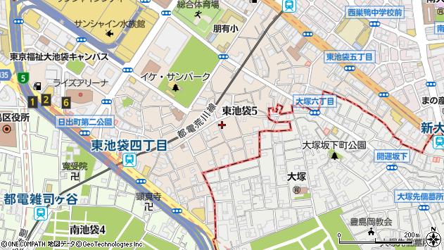 東京都豊島区東池袋周辺の地図