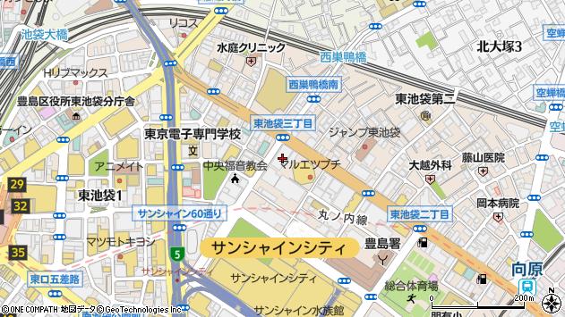東京都豊島区東池袋3丁目21-14周辺の地図