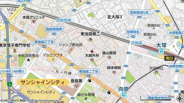 東京都豊島区東池袋2丁目周辺の地図