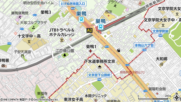 東京都豊島区巣鴨1丁目26周辺の地図