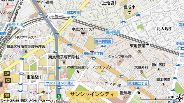 東京都豊島区東池袋2丁目51-1周辺の地図