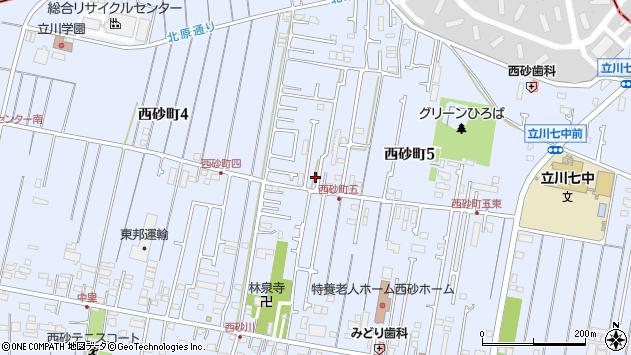 東京都立川市西砂町周辺の地図
