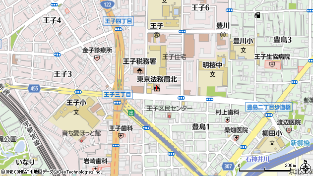 東京都北区王子6丁目2-66周辺の地図
