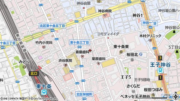 東京都北区東十条3丁目周辺の地図