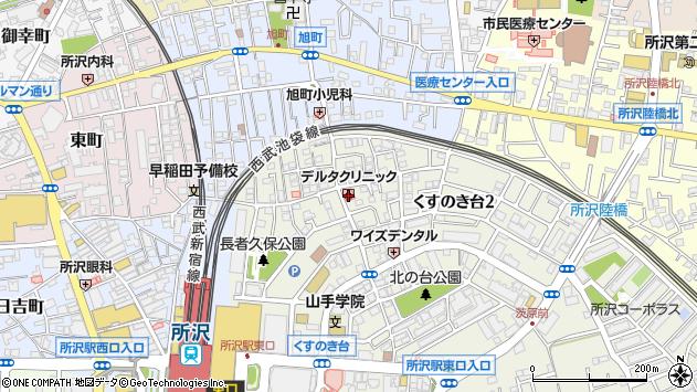 埼玉県所沢市くすのき台周辺の地図