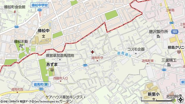 埼玉県草加市遊馬町周辺の地図
