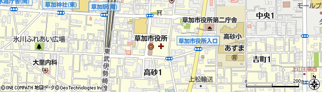 埼玉県草加市周辺の地図
