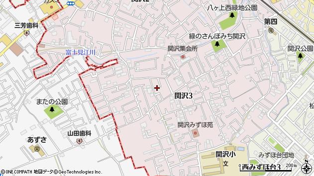 埼玉県富士見市関沢3丁目周辺の地図