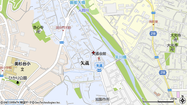 埼玉県飯能市矢颪周辺の地図