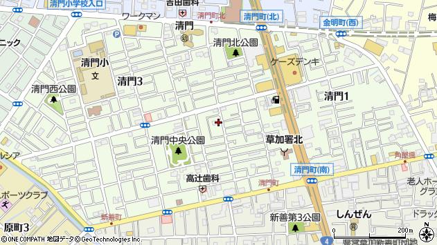 埼玉県草加市清門周辺の地図