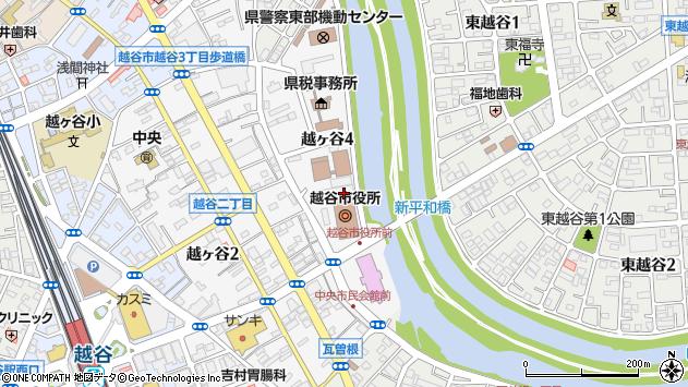 埼玉県越谷市周辺の地図