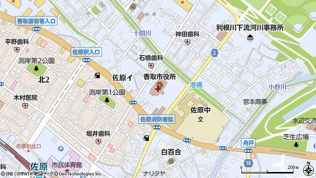 千葉県香取市周辺の地図