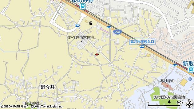 茨城県取手市野々井周辺の地図