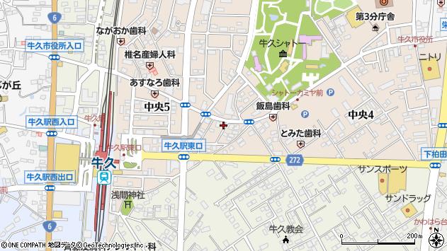 茨城県牛久市中央3丁目周辺の地図
