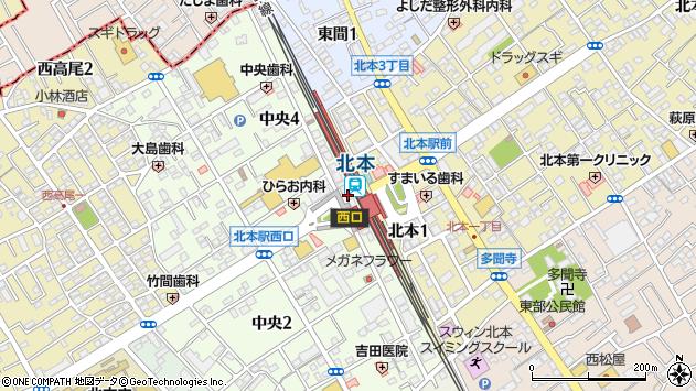 埼玉県北本市中央3丁目112周辺の地図
