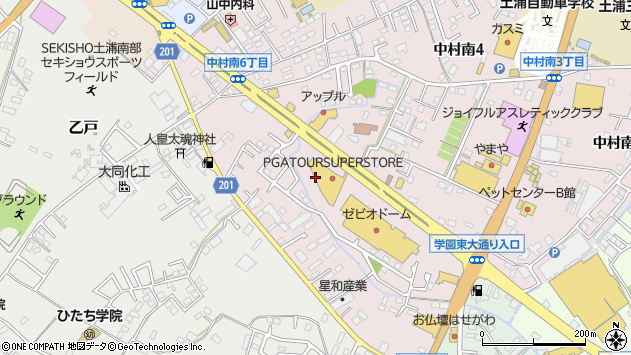 茨城県土浦市中村南6丁目周辺の地図