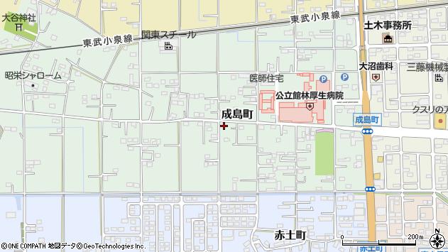 群馬県館林市成島町周辺の地図