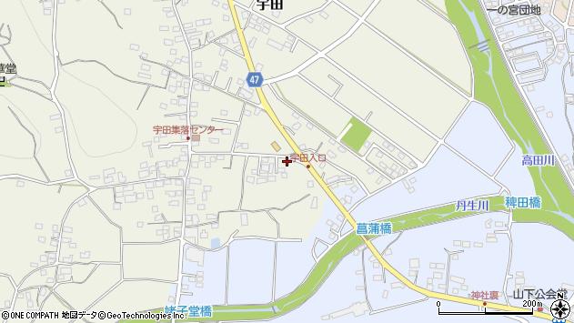 群馬県富岡市宇田周辺の地図
