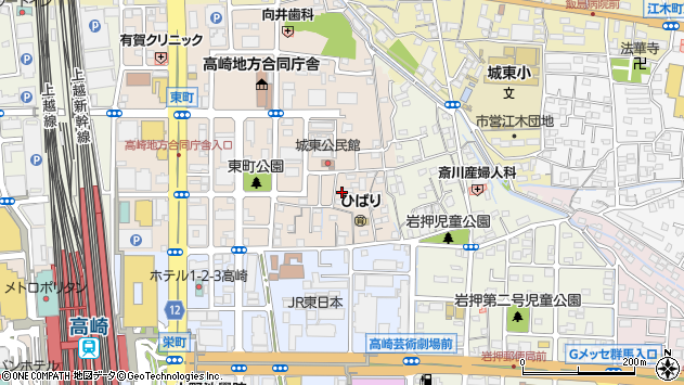群馬県高崎市東町周辺の地図