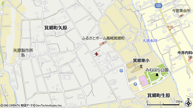 群馬県高崎市箕郷町矢原周辺の地図
