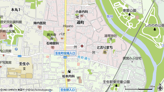 栃木県下都賀郡壬生町周辺の地図