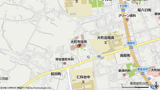 長野県大町市周辺の地図