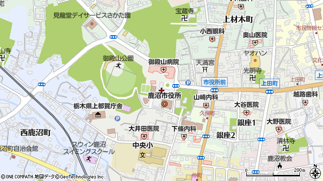 栃木県鹿沼市周辺の地図