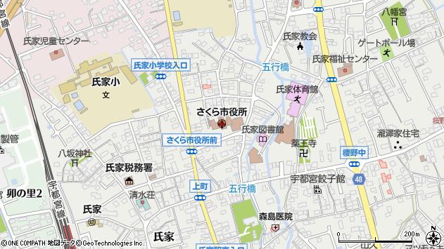 栃木県さくら市周辺の地図