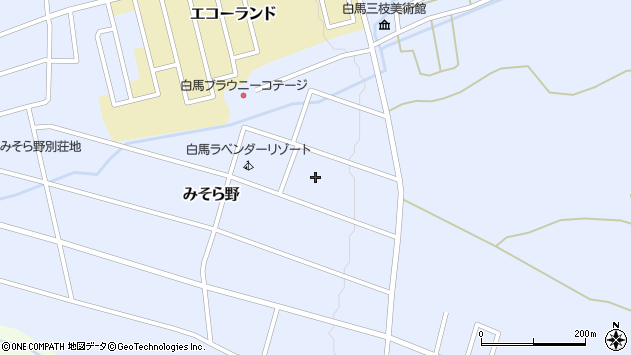 長野県北安曇郡白馬村北城みそら野周辺の地図