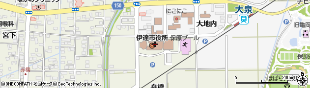 福島県伊達市周辺の地図