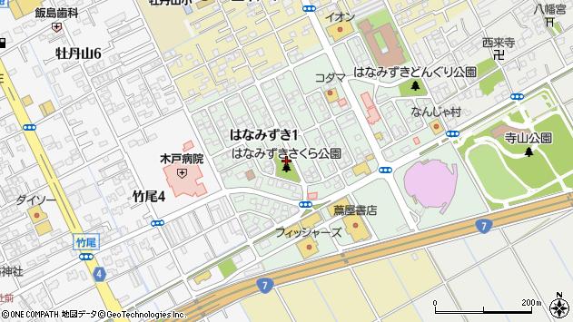 新潟県新潟市東区はなみずき周辺の地図