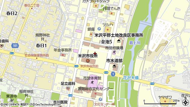 山形県米沢市周辺の地図