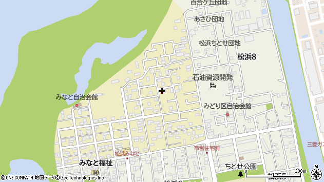 新潟県新潟市北区松浜みなと周辺の地図