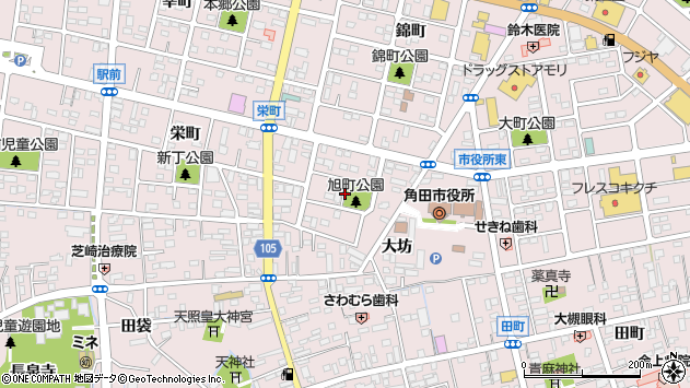 宮城県角田市角田旭町周辺の地図