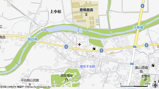 山形県東置賜郡川西町上小松栄町周辺の地図