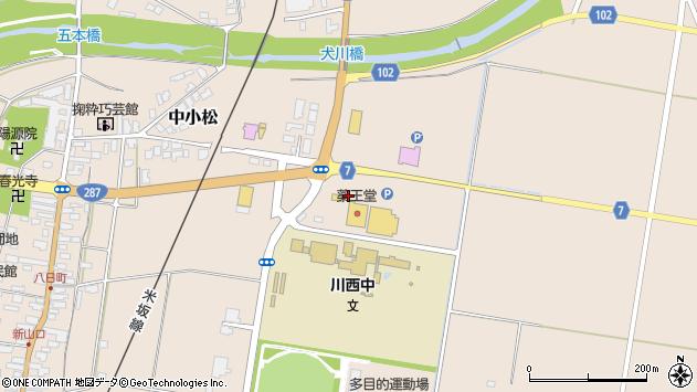山形県東置賜郡川西町中小松田仲周辺の地図