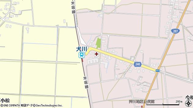 山形県東置賜郡川西町小松周辺の地図