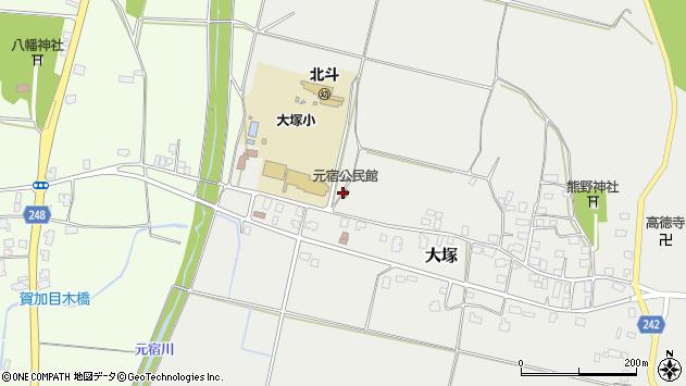 山形県東置賜郡川西町大塚周辺の地図