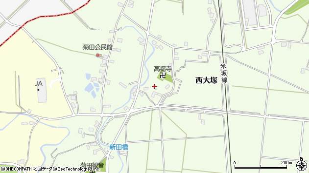 山形県東置賜郡川西町西大塚1111周辺の地図