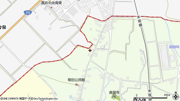 山形県東置賜郡川西町西大塚1202周辺の地図