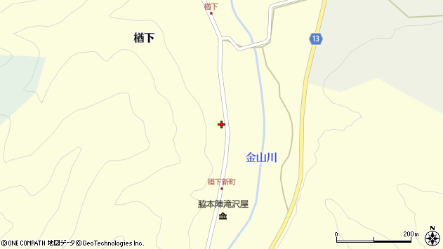 山形県上山市楢下144周辺の地図